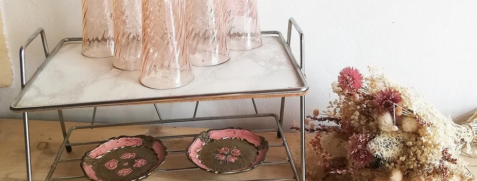 6 Flûtes rosaline vintage
