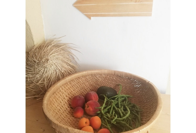 grande paniere vintage rotin fruits légumes