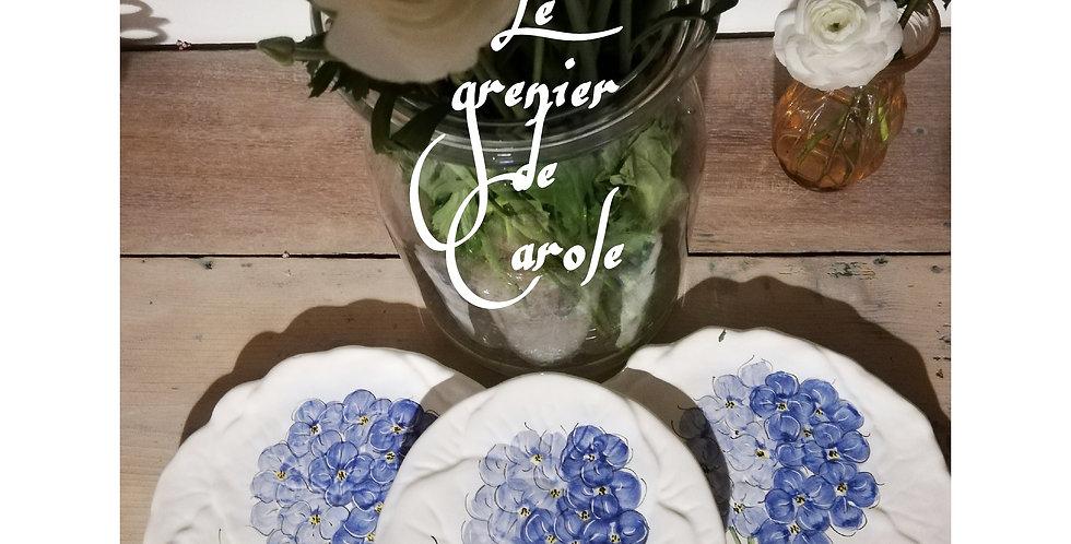 assiettes barbotine vintage fleur faite main