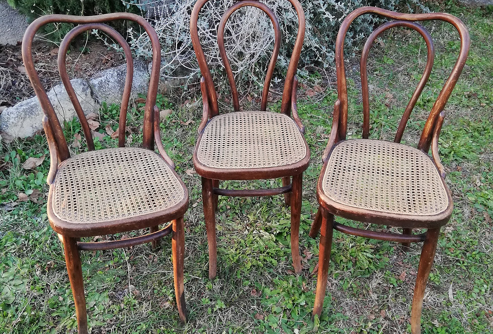 3 chaises bistrot Thonet  avec cannage