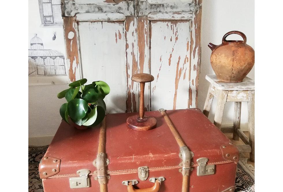 valise en carton bois et cuir vintage 1940