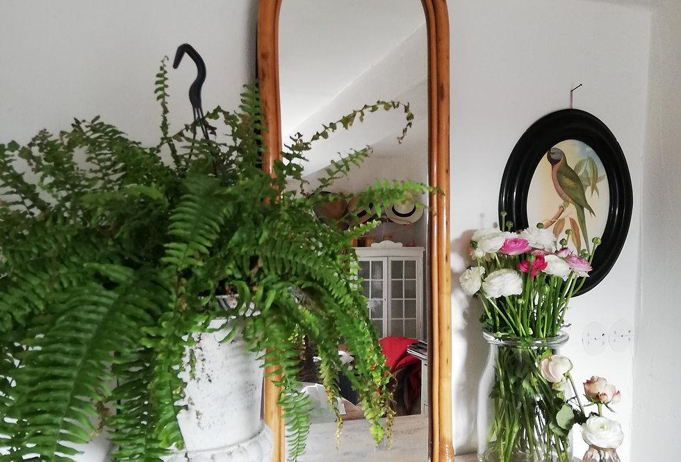 grand miroir vintage rotin