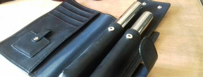 Pochette porte cigares en cuir 2 tubes metal pour cigares calvin klein