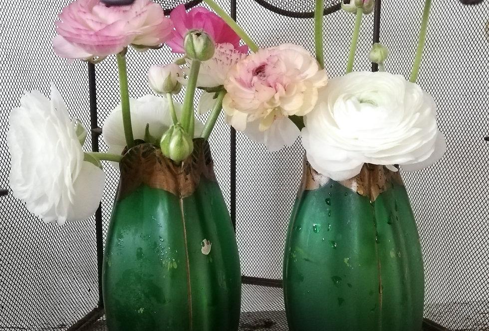 2 vases Art nouveau en verre soufflé