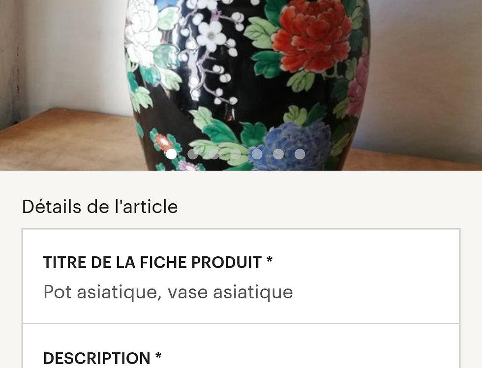 Pot asiatique Vase asiatique