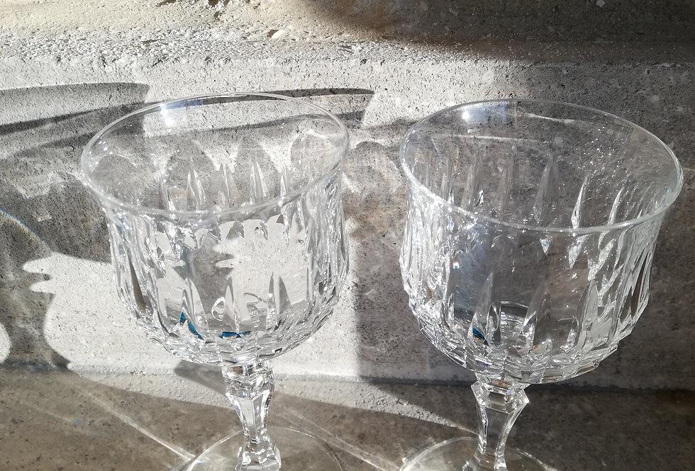 5 verres en cristal ancien