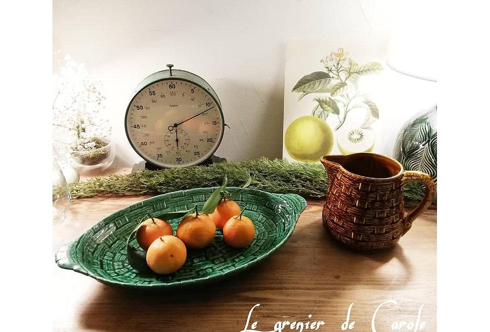 plat porcelaine vintage motif rotin