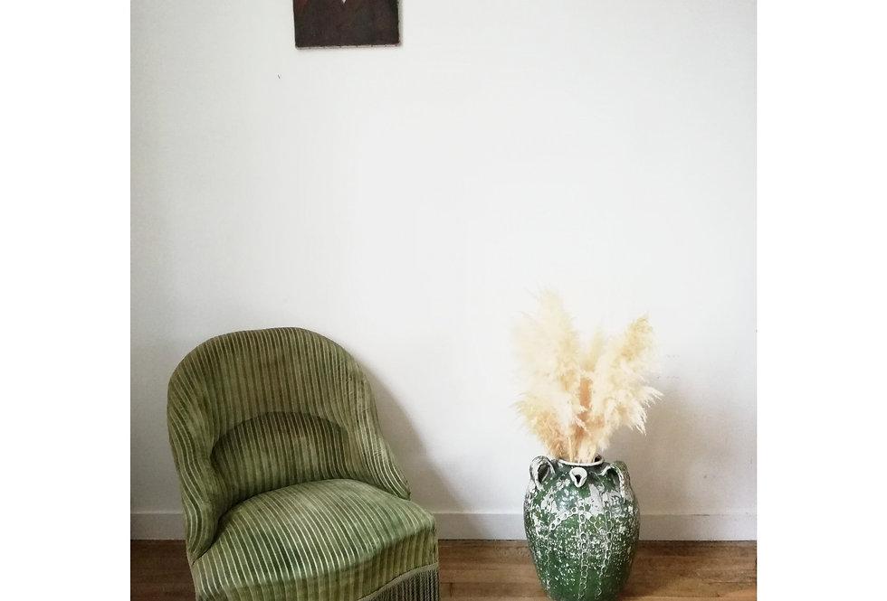 Fauteuil vintage en velours vert (*hors frais de port)
