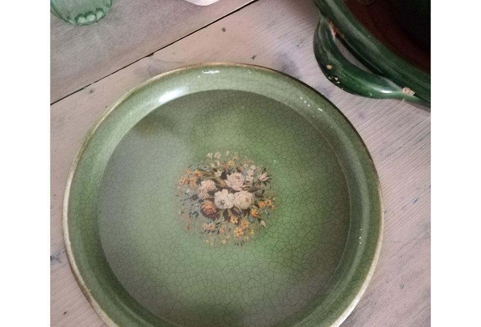 plateau rond vintage vert et fleurs peint main