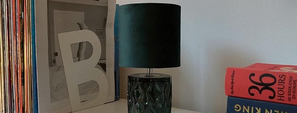 lampe verte vintage verre et velours