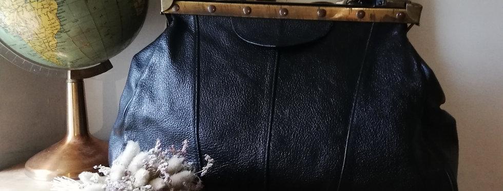 sac diligence cuir noir