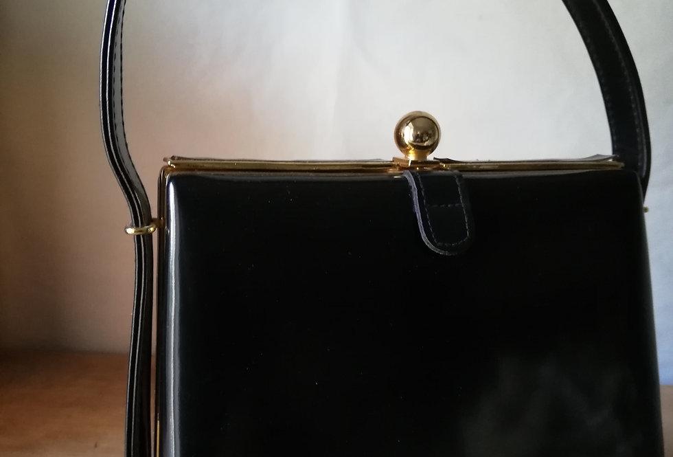 sac cuir vernis noir