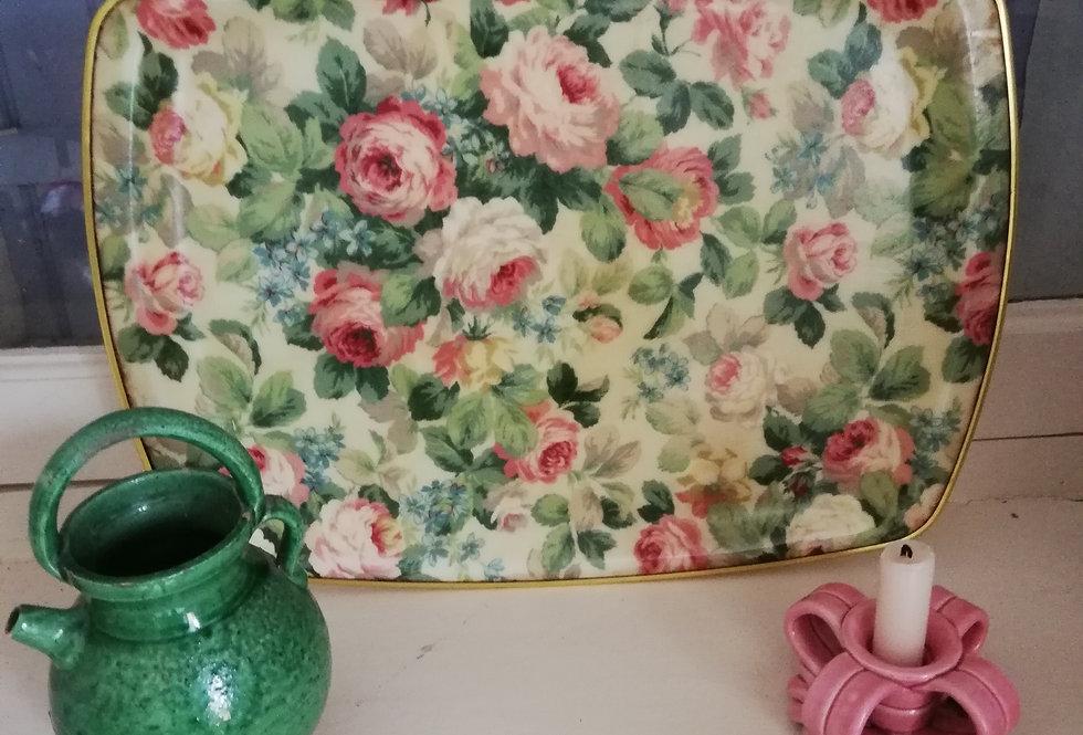 plateau vintage à fleurs