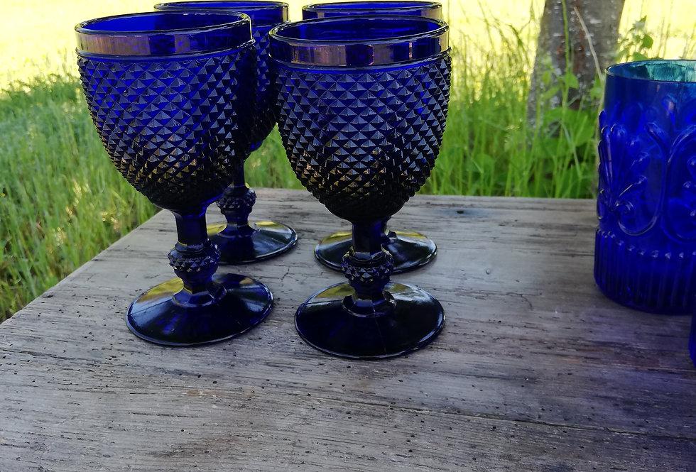 verres à eau pointe de diamants bleu Casa Lopez