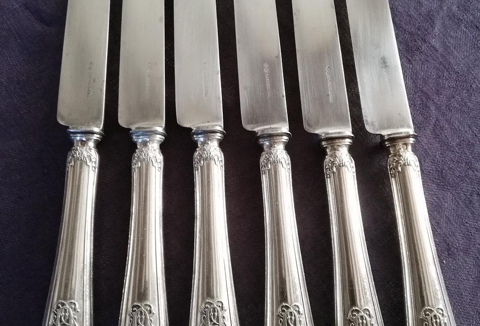 6  couteaux Cardeilhac en argent