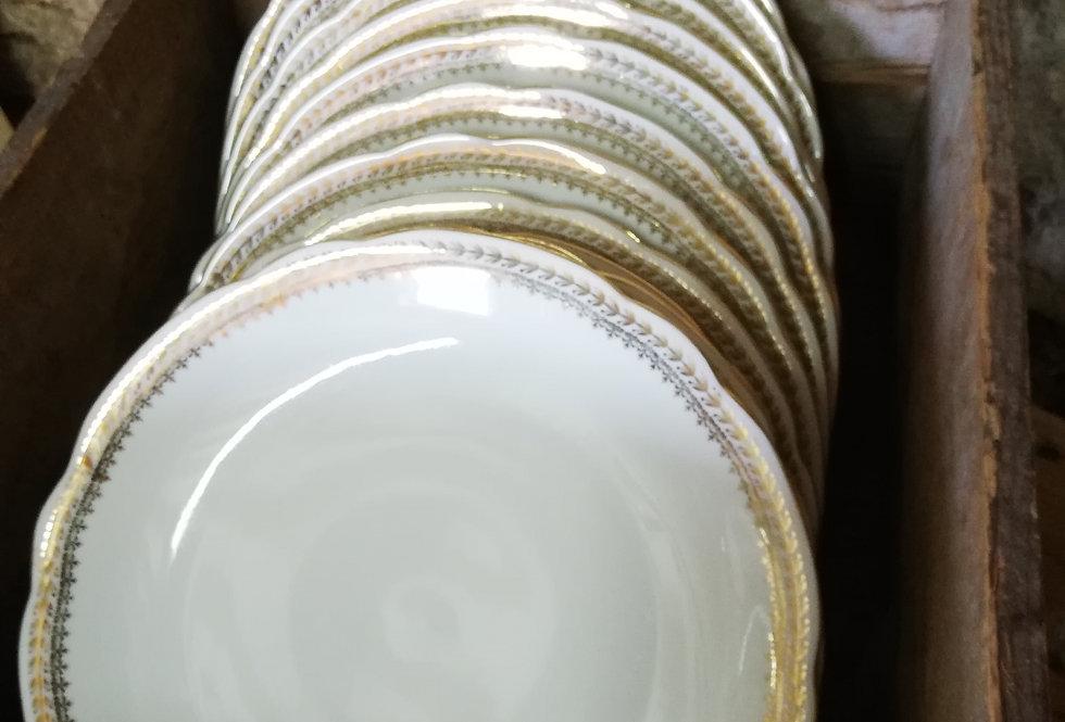 assiette liseré doré vintage