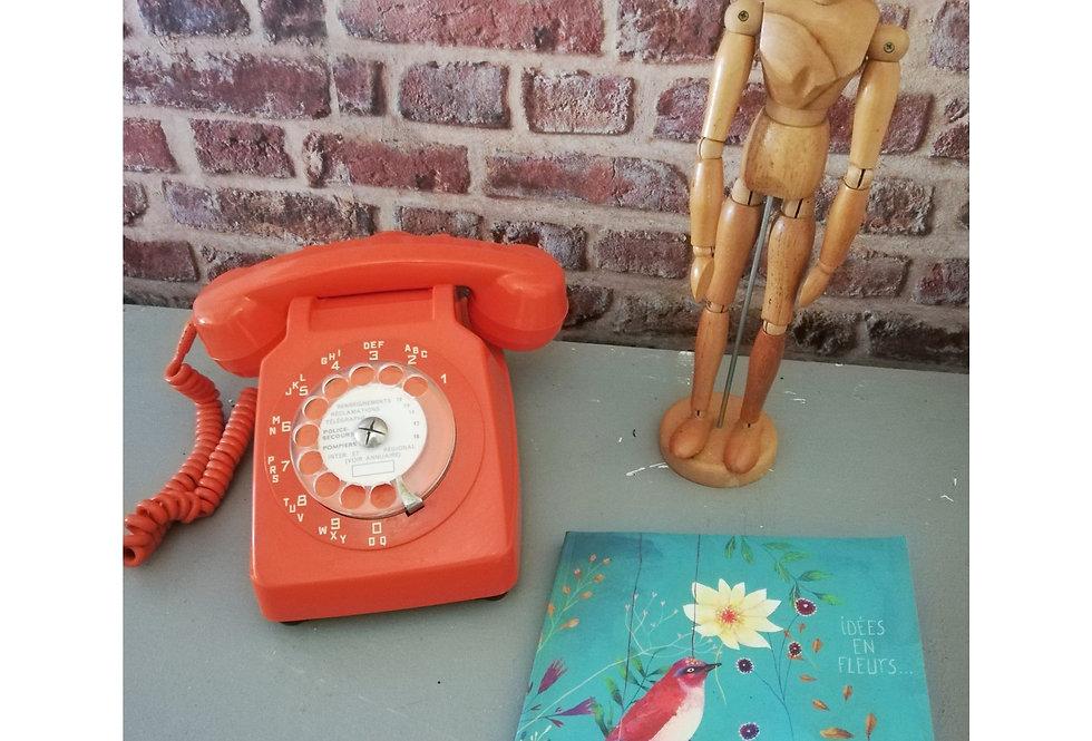 telephone vintage 1970 orange