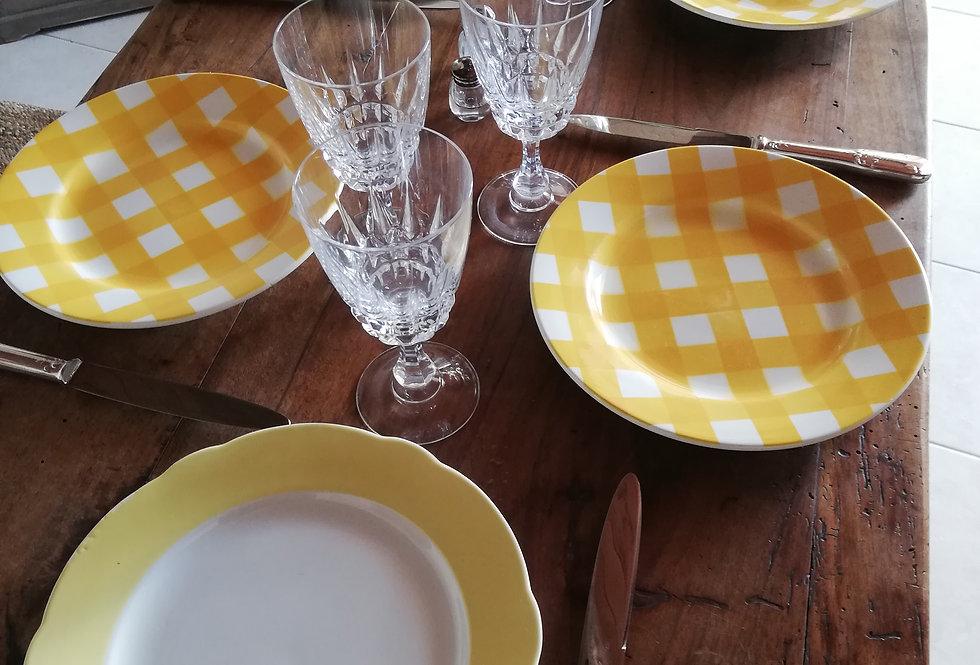 4 assiettes vichy jaune Sarreguemines +2 vintage