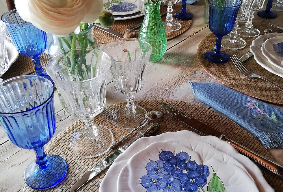6 verres (vin) à pieds de couleur bleu nuit