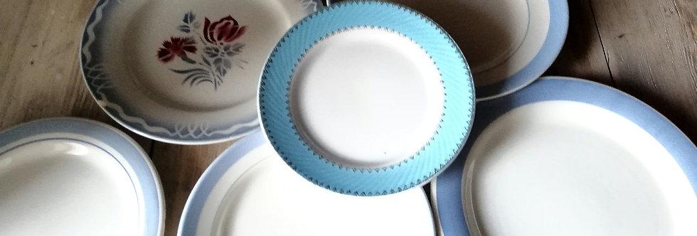 6 assiettes plates vintage