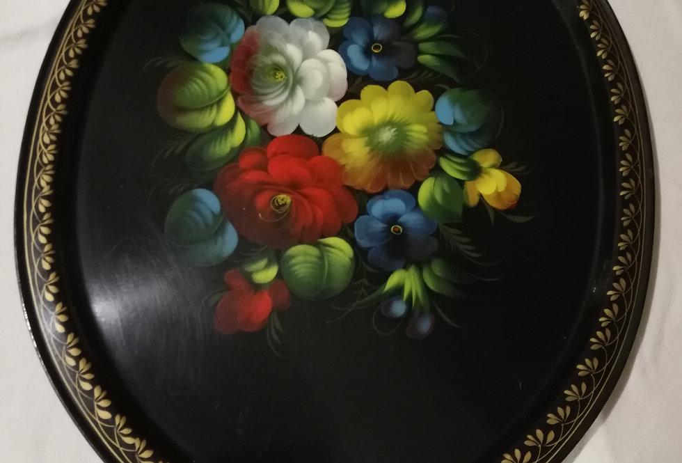 3 Plateaux en métal peint à la main...Hand vintage painted metal tray