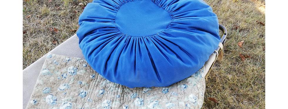 coussin rond vintage bleu