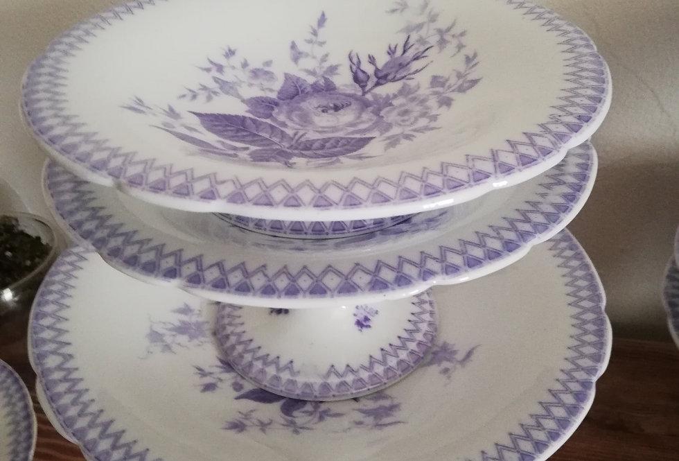plats sur piedouche porcelaine anglaise mauve