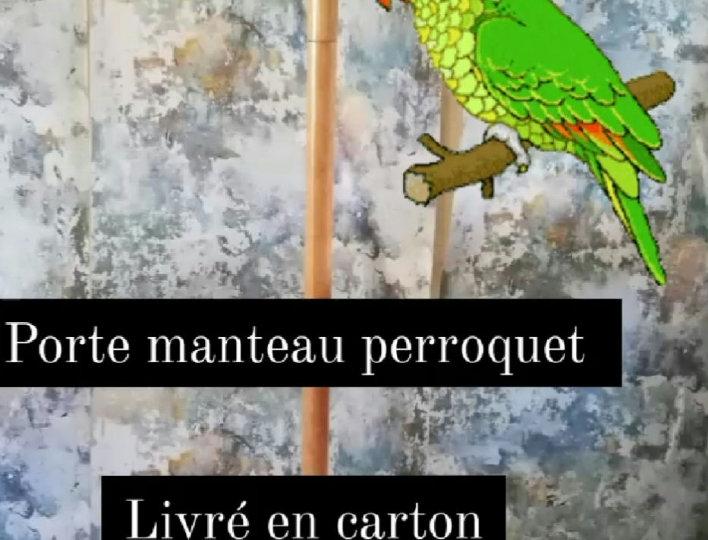 porte manteau perroquet bois vintage
