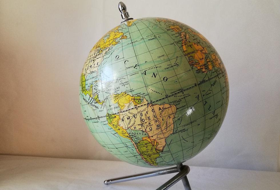 Grand et magnifique globe mappemonde  tripode années 1940 Dalmau Carles Pla Beau