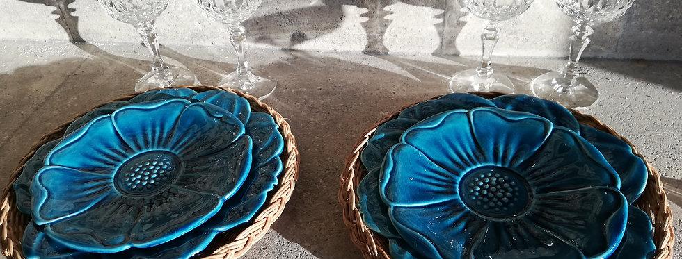 assiettes fleurs Charolles bleu turquoise
