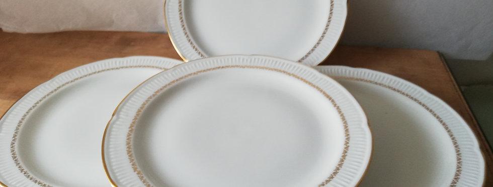 4 assiettes plates porcelaine de Vierzon