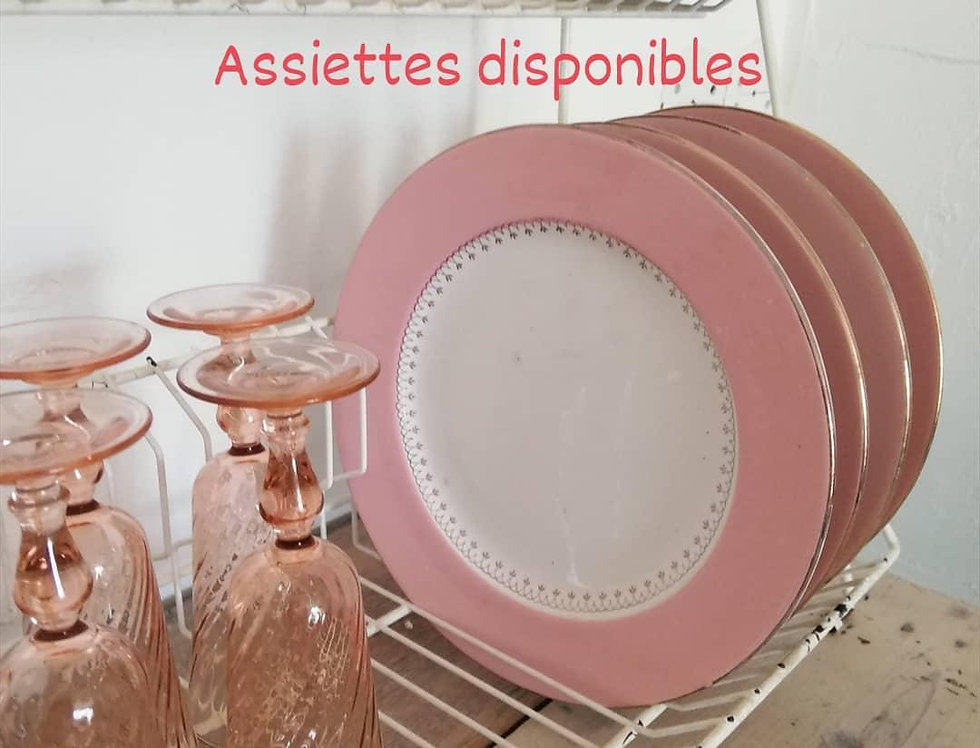 4 assiettes rose vintage