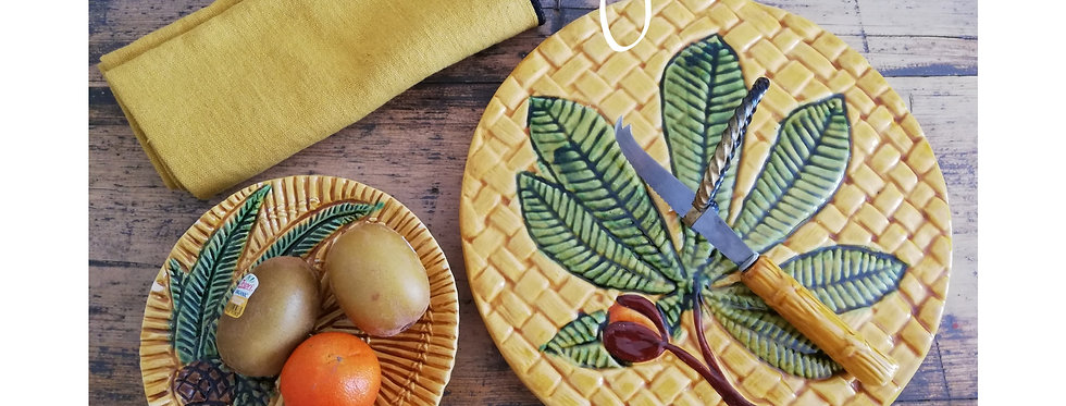 plateau de fromage en barbotine vintage