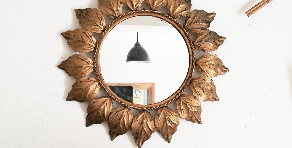 grand miroir rond feuilles dorées