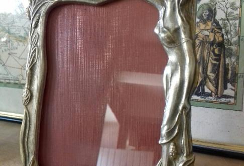 Cadre photo Art nouveau en laiton doré vintage à décor de femme