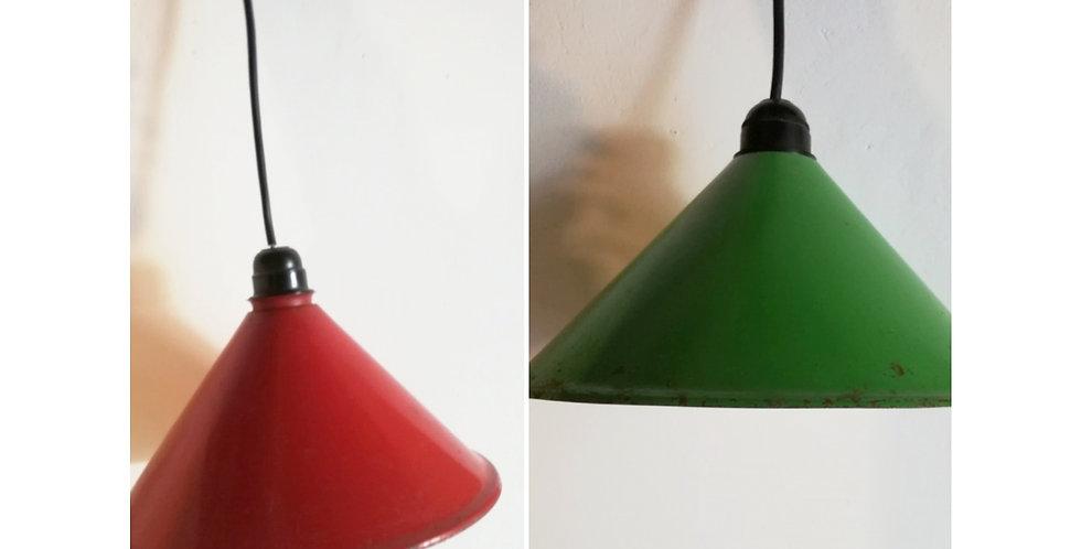 deux luminaires métal vintage gamelles vintage
