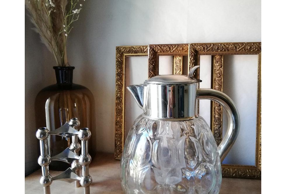 Magnifique carafe à orangeade ou autre verseur en métal argenté