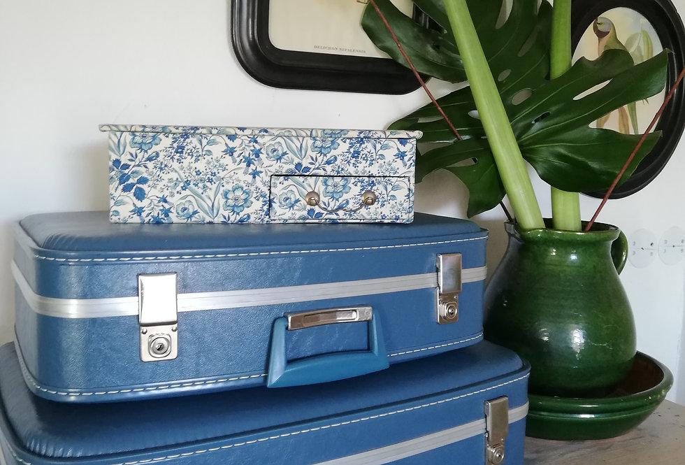 Boîte vintage en tissus bleu