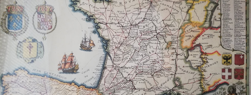 Carte vintage des chemins de Compostelle