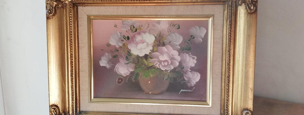 Huile sur toile vintage bouquet de fleurs