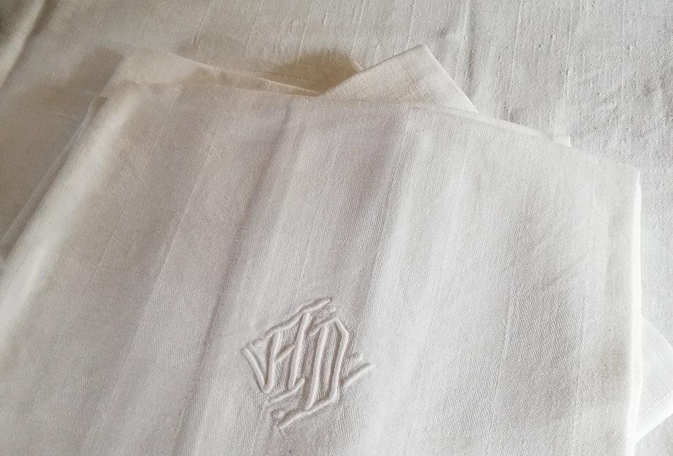 Grande nappe en coton ancienne et ses 6 serviettes