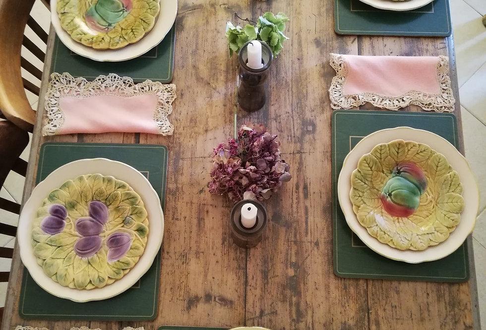 sous assiettes set de table vintage en liège