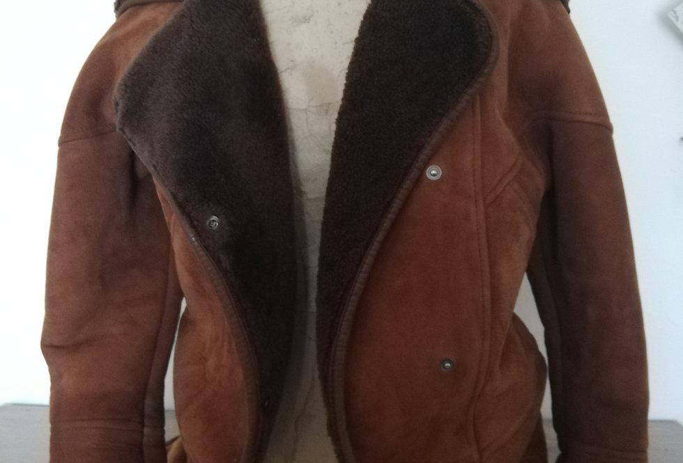manteau vintage en peau lainée