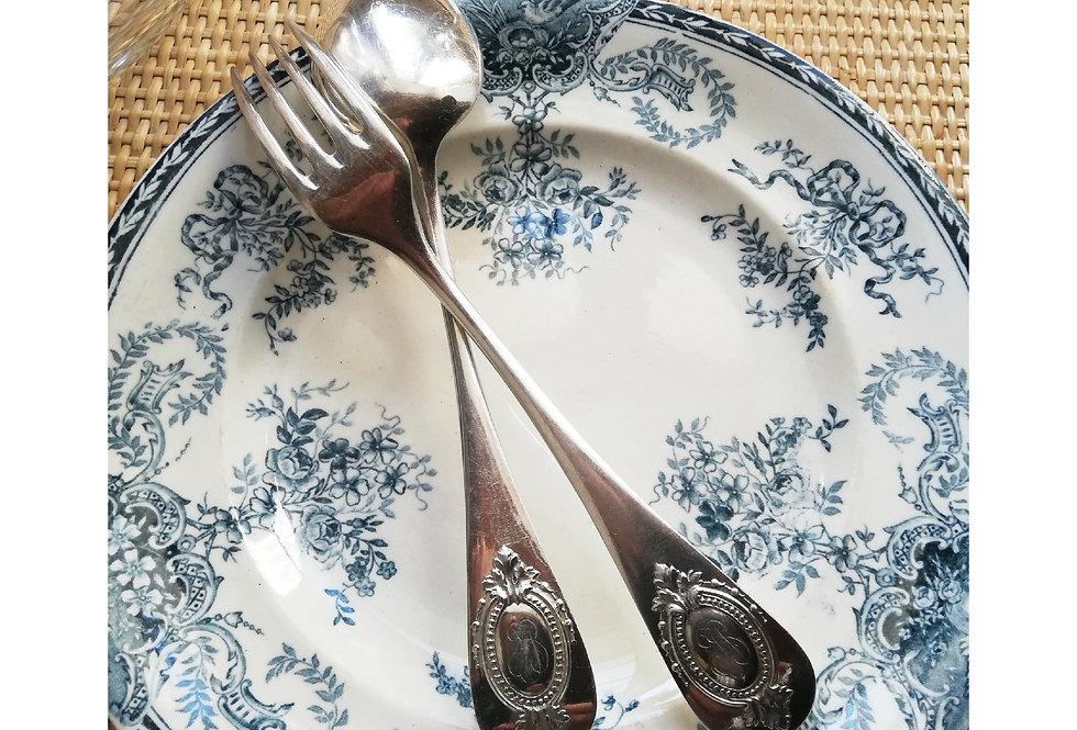 6 assiettes plates longwy XIX