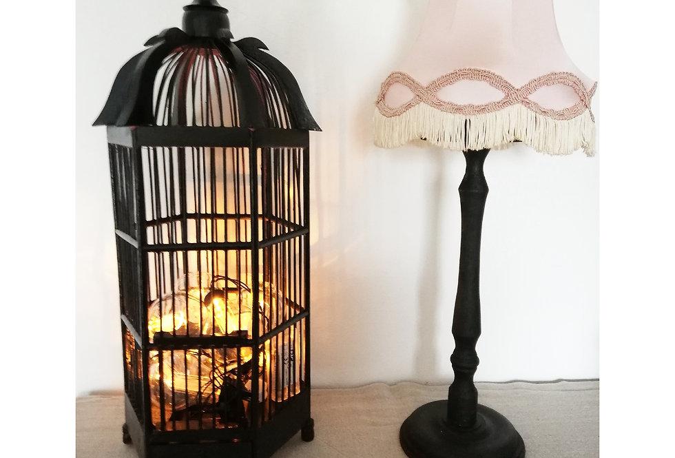 cage oiseaux bois noir vintage