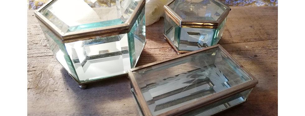 Boîtes à bijoux laiton et verre biseauté (vendu à l'unité)