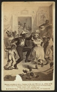 Photograph shows African Americans (freed slaves?) celebrating in a plantation house, includes couples dancing and children playing.