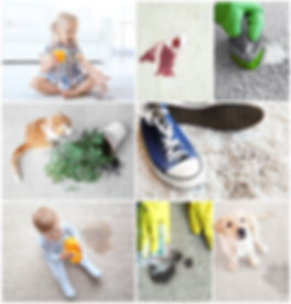 Different types of dirt on carpet. Clean