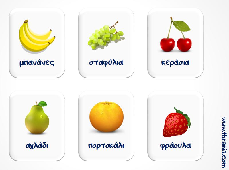 Καρτέλες με τα φρούτα