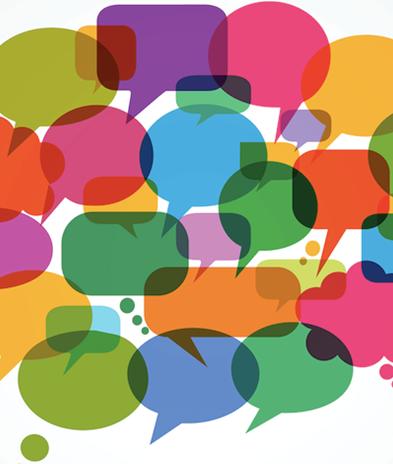 Multi-coloured speech bubbles